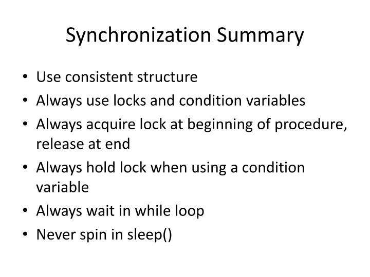 Synchronization Summary