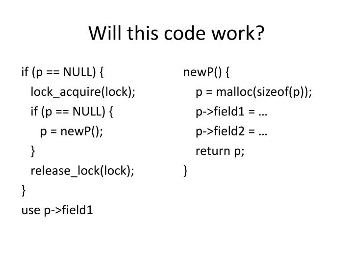 Will this code work?