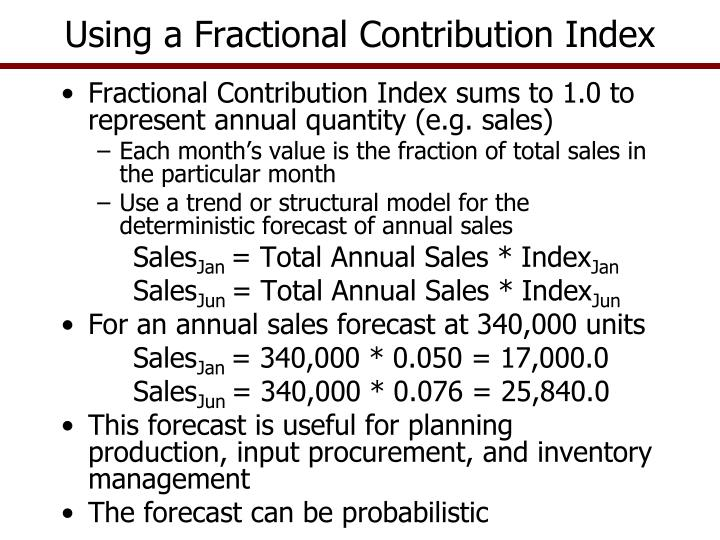 Using a Fractional Contribution Index
