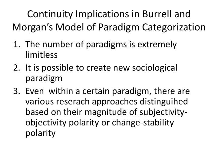 Continuity Implications in Burrell and Morgan's Model of Paradigm Categorization