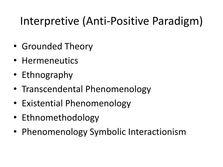 Interpretive (Anti-Positive Paradigm)