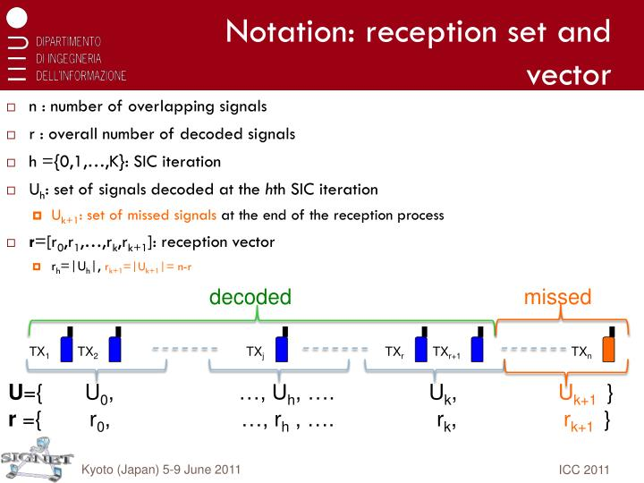 Notation: reception set and vector