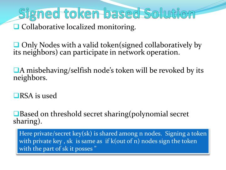 Signed token based Solution