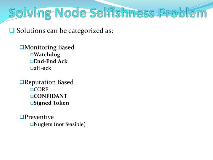 Solving Node Selfishness Problem
