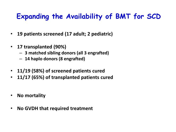 Expanding the Availability of BMT for SCD