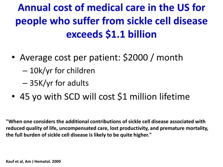 Annual cost of medical care in the US for people who suffer from sickle cell disease exceeds $1.1 billion
