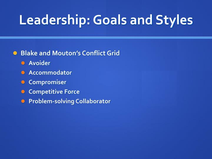 Leadership: Goals and Styles
