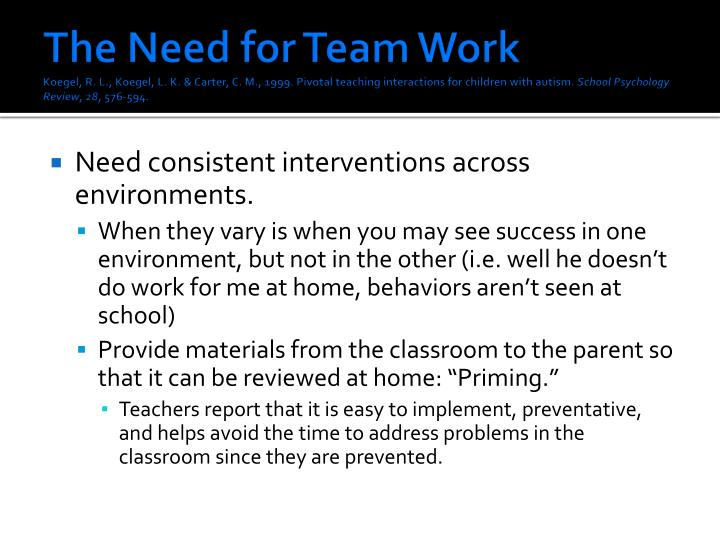 The Need for Team Work