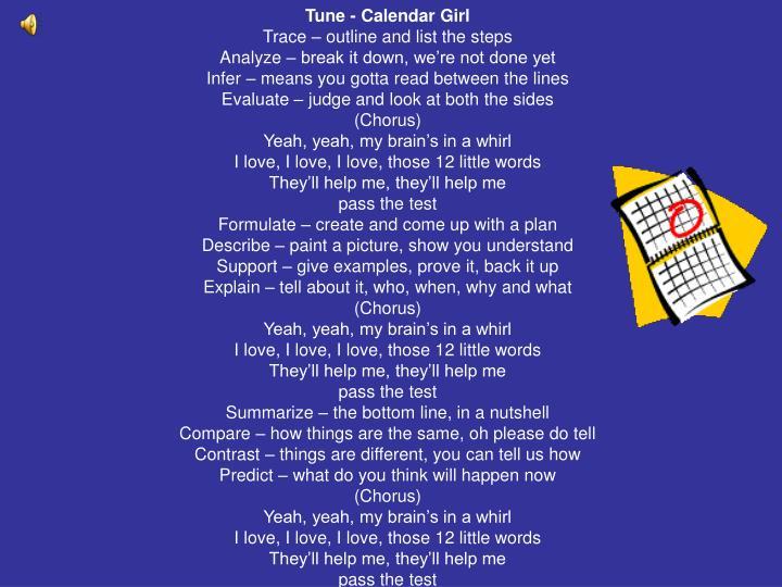 Tune - Calendar Girl