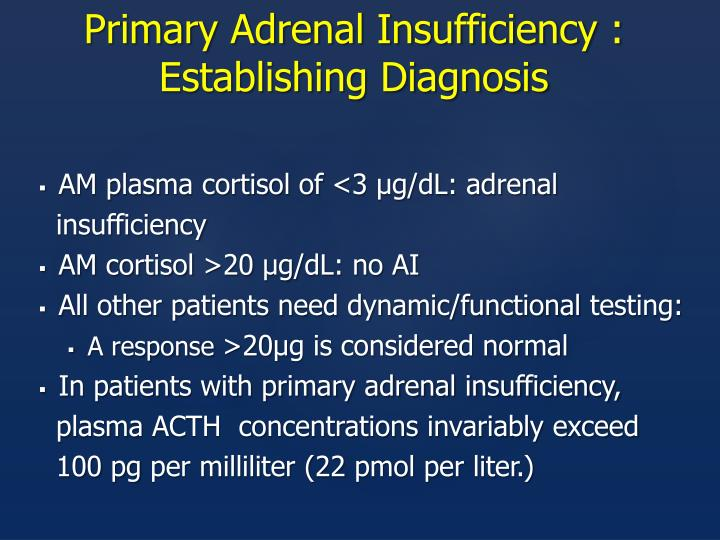 Primary Adrenal Insufficiency : Establishing Diagnosis