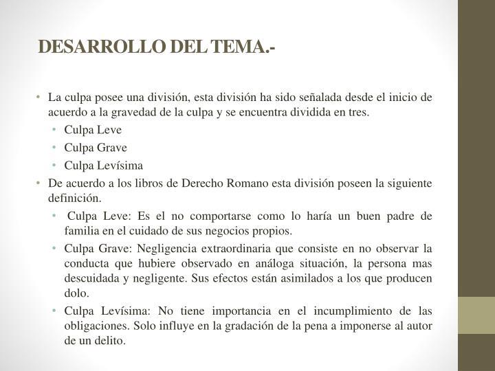 DESARROLLO DEL TEMA.-