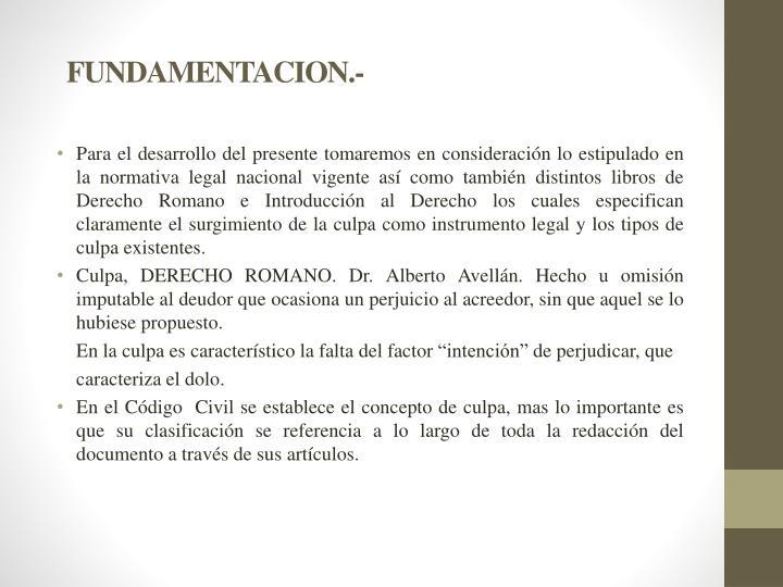 FUNDAMENTACION.-