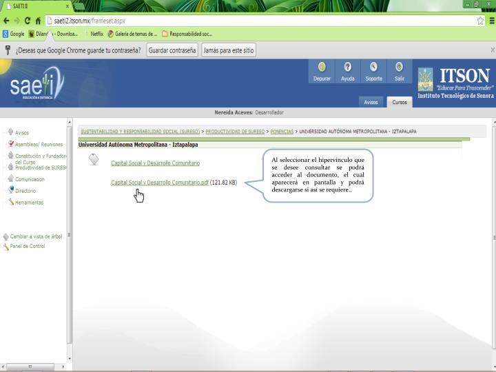 Al seleccionar el hipervínculo que se desee consultar se podrá acceder al documento, el cual aparecerá en