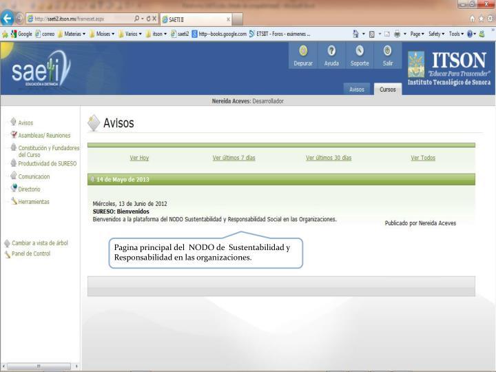Pagina principal del  NODO de  Sustentabilidad y Responsabilidad en las organizaciones.