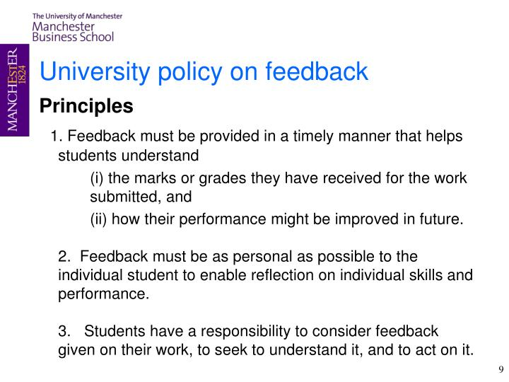 University policy on feedback