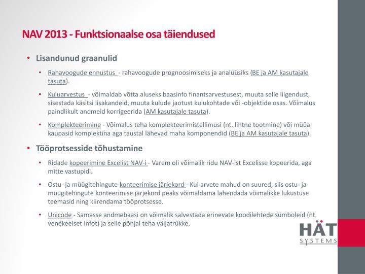 NAV 2013 - Funktsionaalse osa täiendused