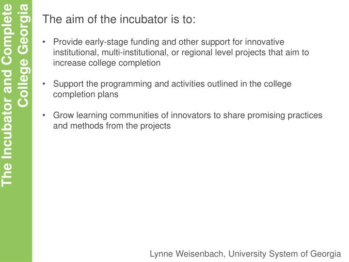 The aim of the incubator is to: