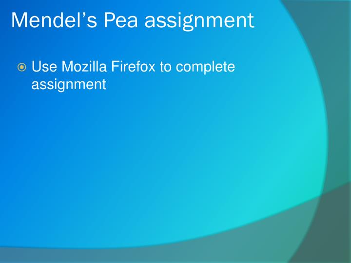 Mendel's Pea assignment
