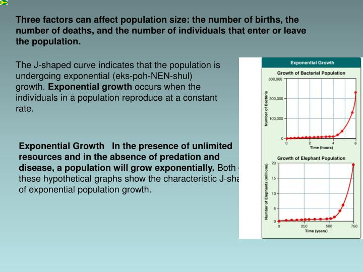 Three factors can affect population size: the number of births, the number of deaths, and the number of individuals that enter or leave the population.