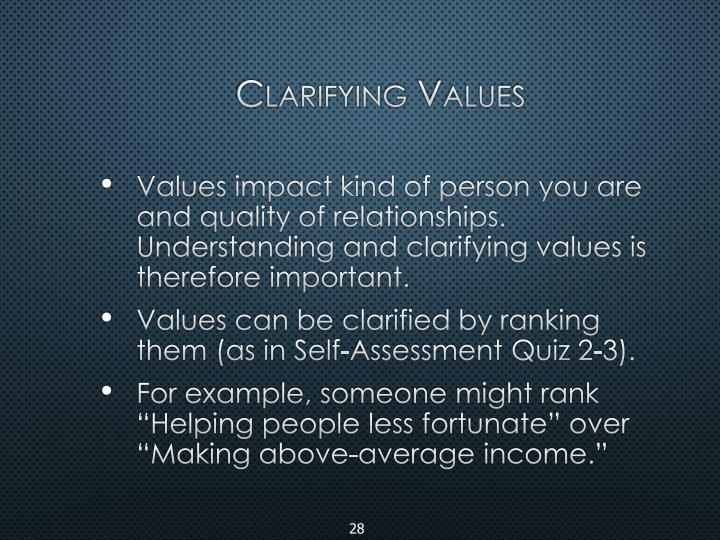Clarifying Values