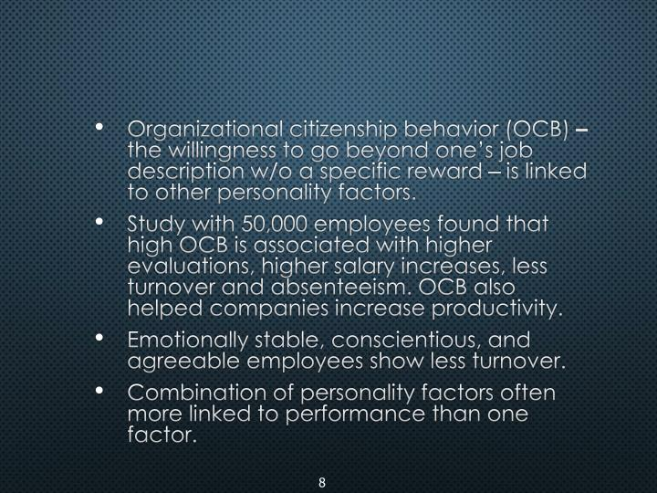 Organizational citizenship behavior (OCB