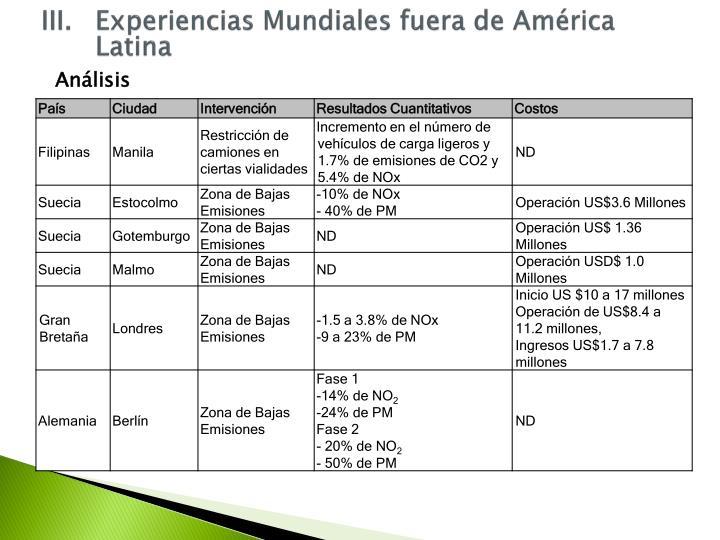 III.Experiencias Mundiales fuera de América Latina