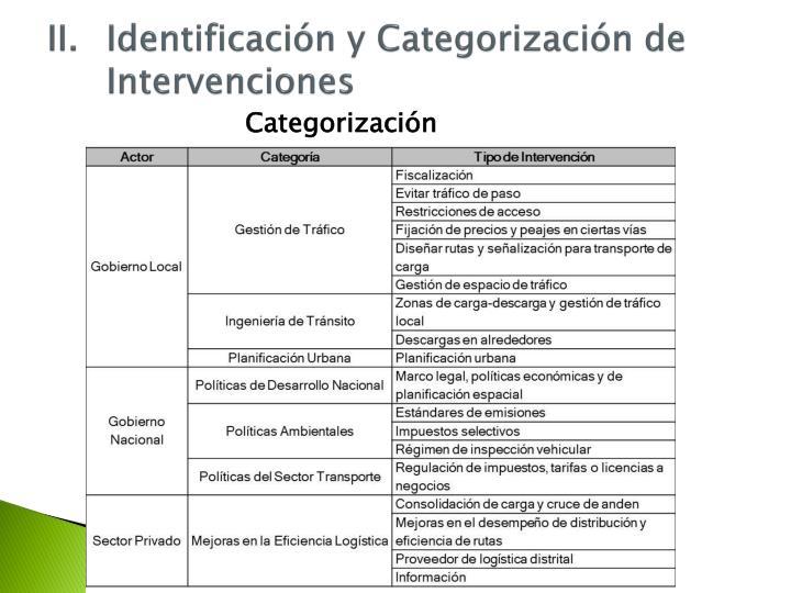 II.Identificación y Categorización de Intervenciones