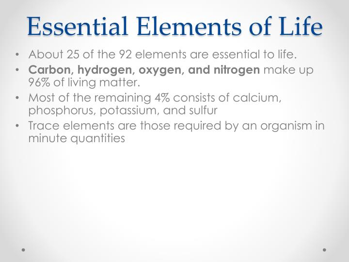 Essential Elements of Life