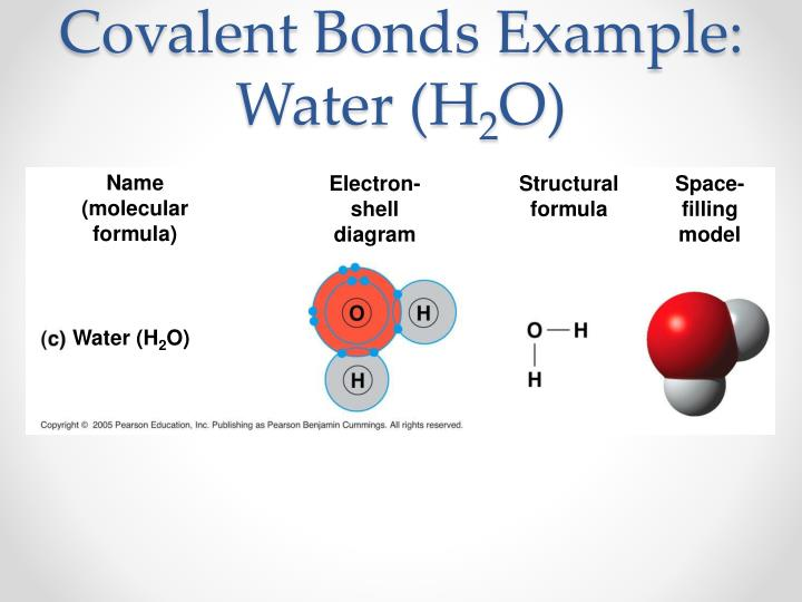 Covalent Bonds Example: Water (H