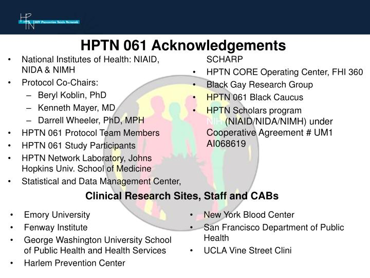 HPTN 061 Acknowledgements
