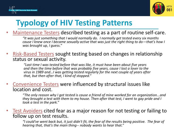 Typology of hiv testing patterns