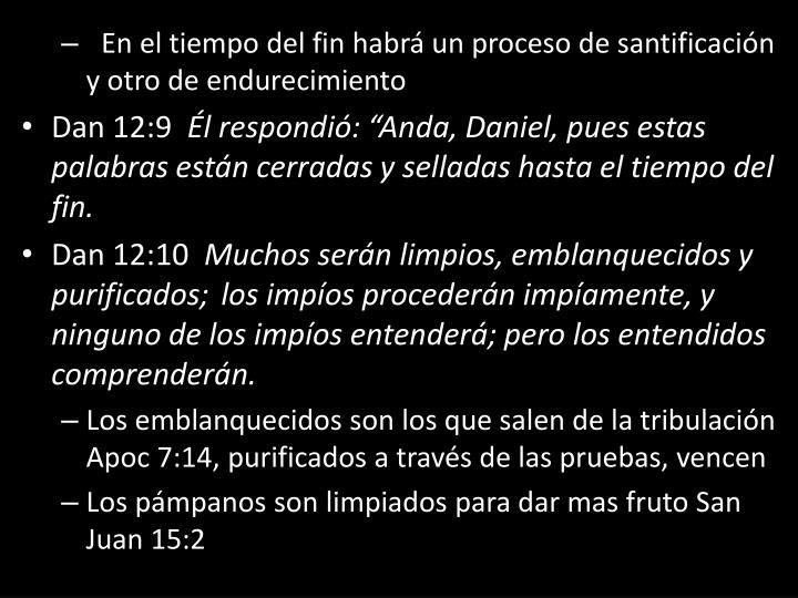 En el tiempo del fin habrá un proceso de santificación y otro de endurecimiento