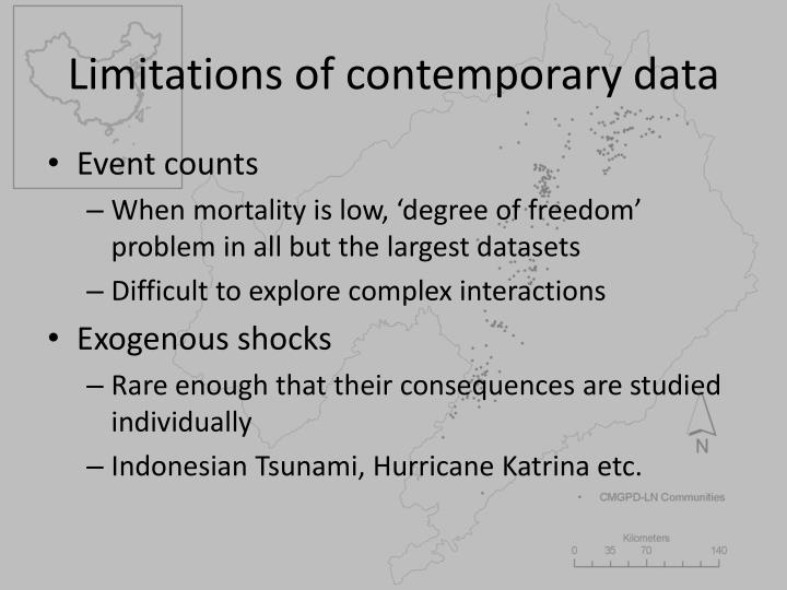 Limitations of contemporary data