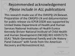 recommended acknowledgement please include in all publications