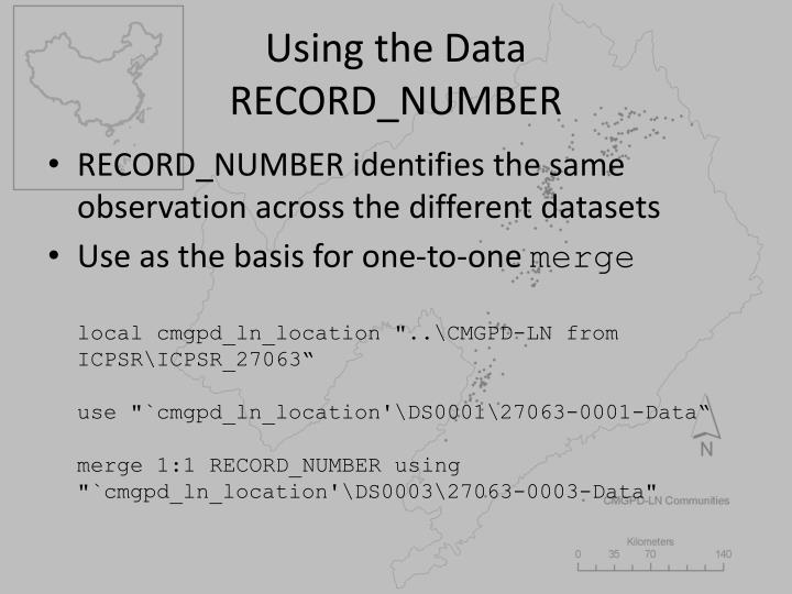 Using the Data