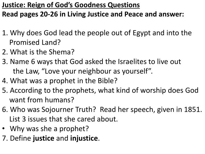 Justice: Reign of God's Goodness Questions