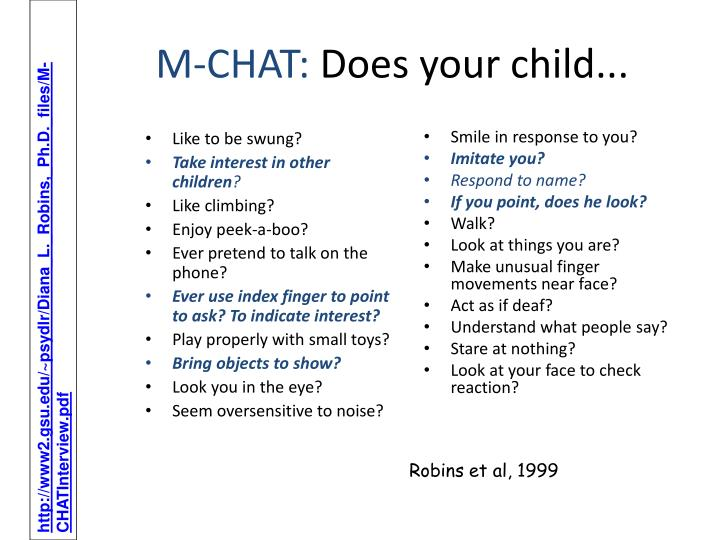 M chat does your child