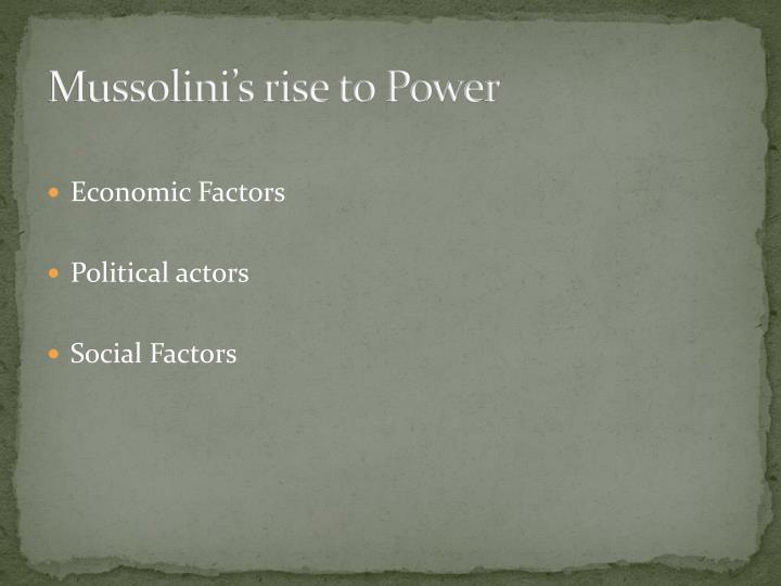 Mussolini's rise