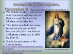 immaculate conception december 8 this year celebrated on december 9