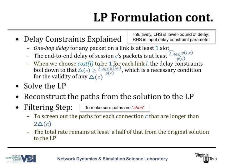 LP Formulation cont.
