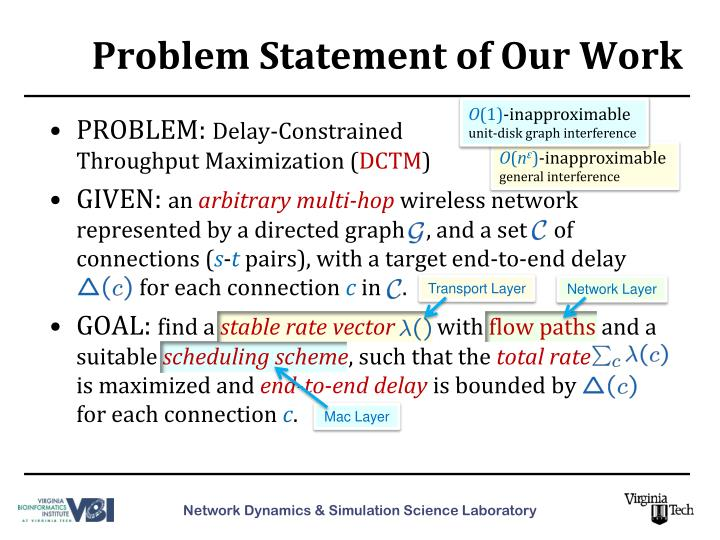 Problem statement of our work