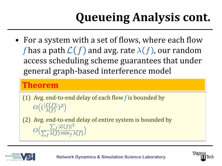 Queueing Analysis cont.