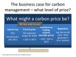 the business case for carbon management what level of price