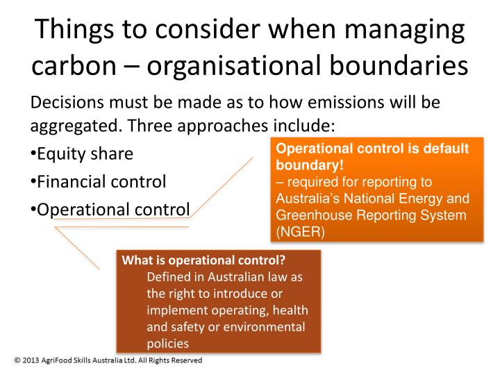 Things to consider when managing carbon – organisational boundaries