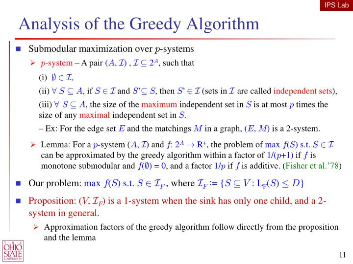 Analysis of the Greedy Algorithm