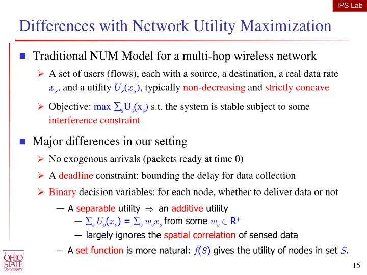 Differences with Network Utility Maximization