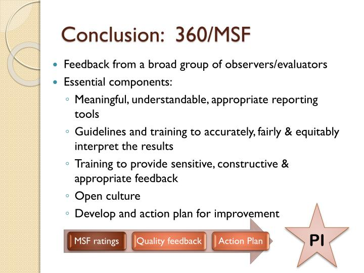 Conclusion:  360/MSF