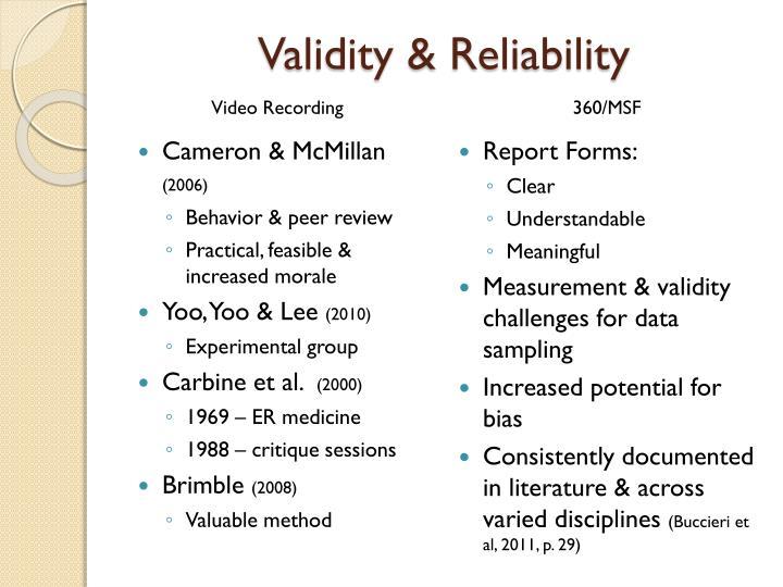 Validity & Reliability