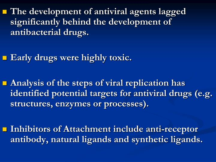 The development of antiviral agents lagged significantly behind the development of antibacterial drugs.