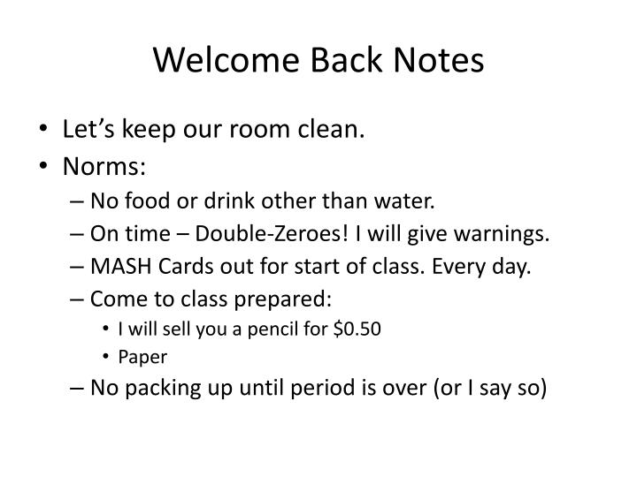Welcome Back Notes